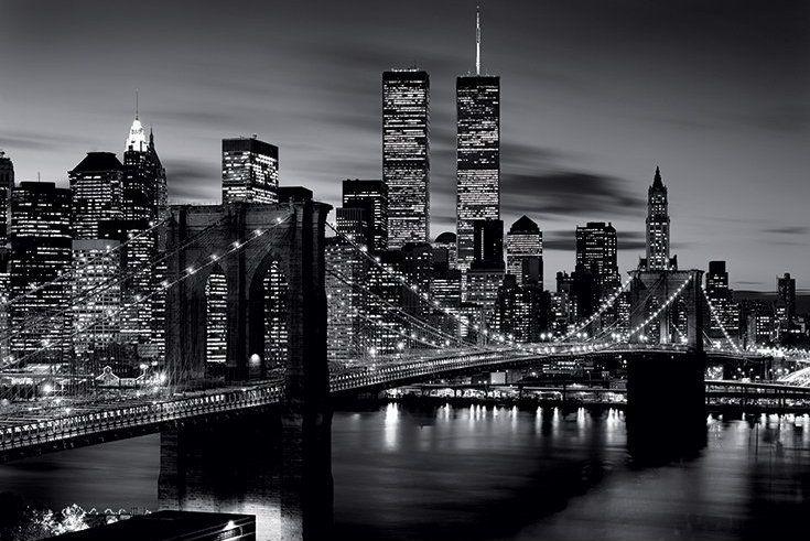 Plakat Z Nocną Panoramą Nowego Jorku