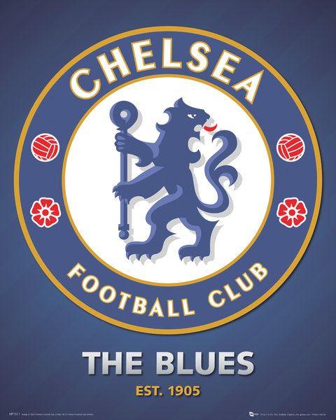 ea1f2385d8ea plakat na ścianę o wymiarach 40x50 cm z herbem klubu piłkarskiego Chelsea  na tle klubowych barw