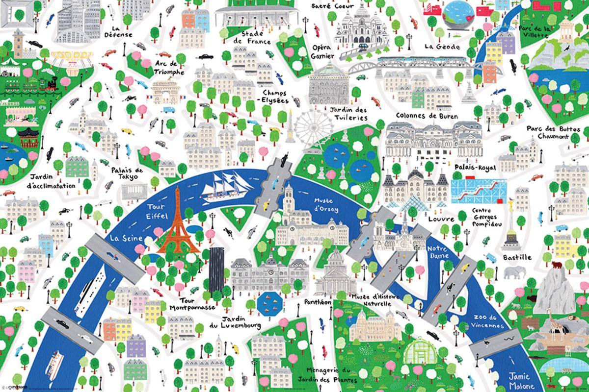 Paryż Mapa Rysunkowa Plakat