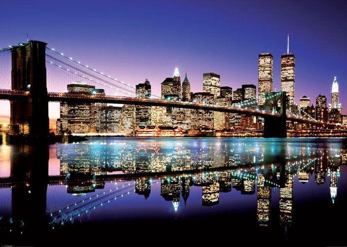 New York Brooklyn Bridge Colour Plakat