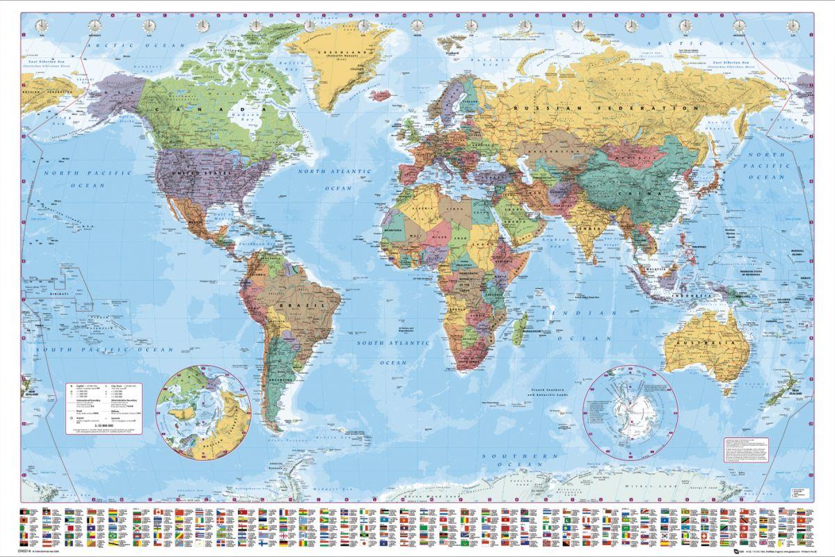 Polityczna Mapa Swiata Flagi Plakat Sklep Eplakaty Pl