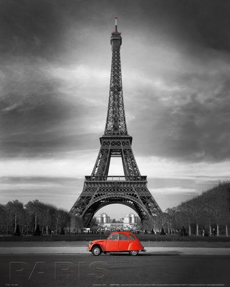Paryż Czerwone Auto Pod Wieżą Eiffla Plakat