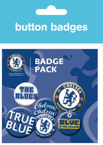 3a8d6f4f83e7 zestaw sześciu kolorowym przypinek w klubowych barwach Chelsea