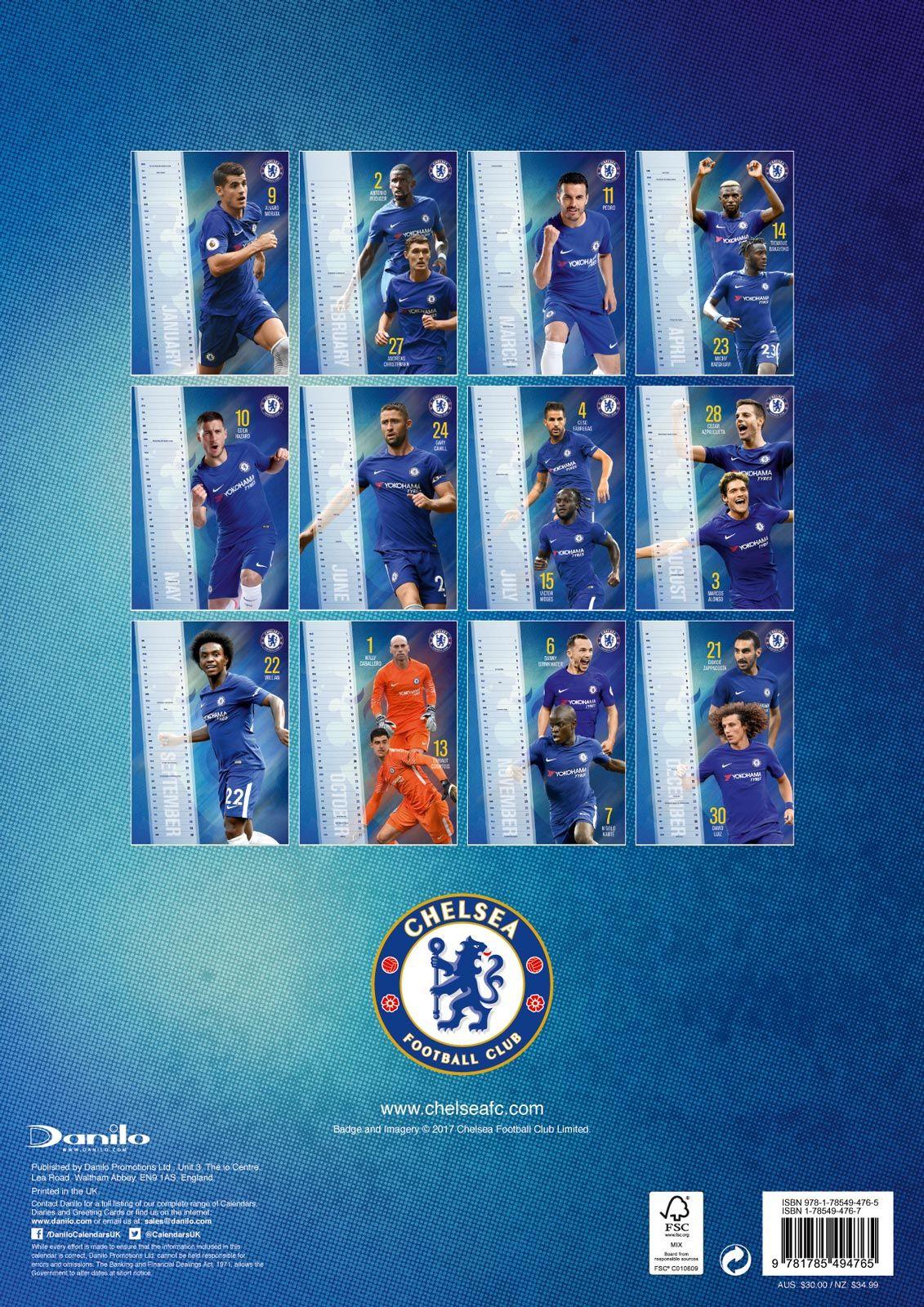 18c37a33a44f Kalendarz 2018 Chelsea FC  Kalendarz naścienny z klubem Chelsea na 2018 rok