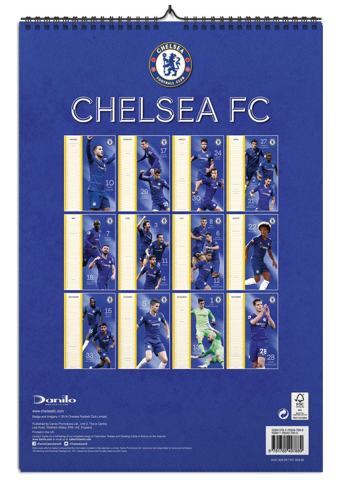 309748f9b9b9 ... Tył kalendarza z klubem Chelsea F.C na 2019 rok