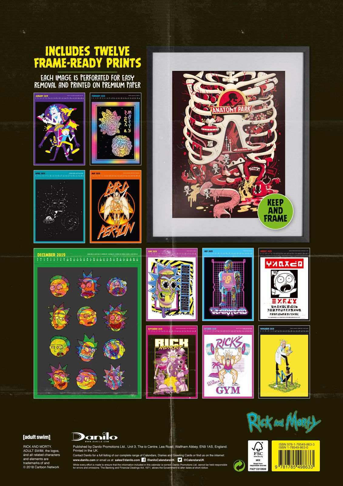 rick and morty kalender 2019 wandkalender gr e 31 2x44. Black Bedroom Furniture Sets. Home Design Ideas