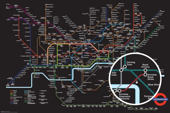 Transport For London Black Map - plakat