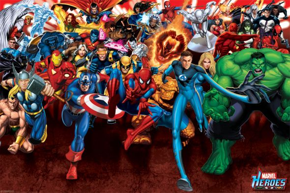 Marvel Heroes Attack - plakat 91,5x61 cm