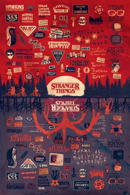 Stranger Things Upside Down Infografika - plakat 61x91,5 cm