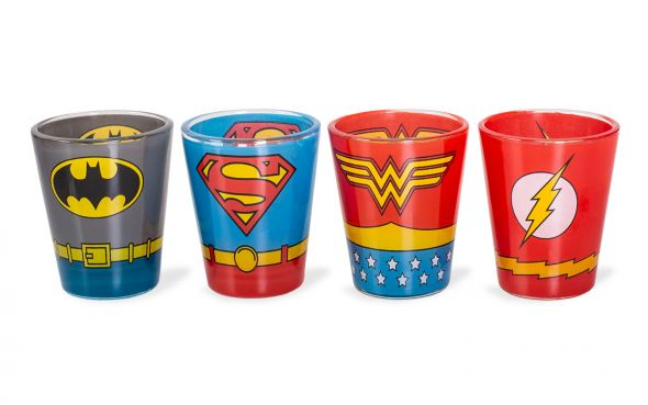 Kieliszki z superbohaterami DC Comics - Wonder Woman, Flashem, Supermanem i Batmanem
