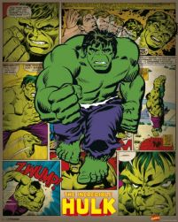 Plakat Incredible Hulk w stylu retro z komiksu Marvel'a