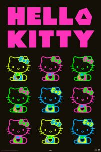 Hello Kitty - neon party - plakat