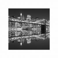 New York (Brooklyn Bridge night BW) - reprodukcja