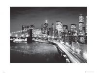 New York Manhattan Night - reprodukcja
