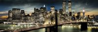 New York Manhattan night'n moon - plakat 158x53 cm