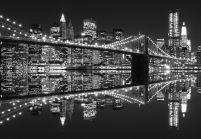 New York (Brooklyn Bridge night BW) - fototapeta 366x254 cm