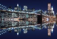 New York (Brooklyn Bridge night) - fototapeta 366x254 cm