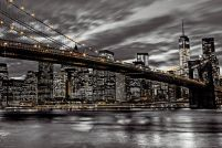 Nowy Jork nocą - Brooklyn Bridge - plakat