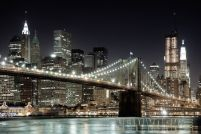 Nowy Jork Brooklyn Bridge Nocą - plakat