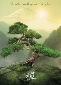 plakat life is the only thing worth livingn for z drzewm bonsai w górach