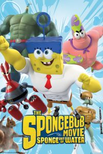 plakat z filmu animowanego The SpongeBob movie Sponge out of water. Kanciastoporty