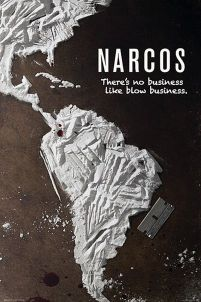 Plakat z serialu Narcos z mapą ameryki i napisem there's no business like blow business