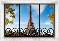 Tour Eiffel Paris France (window) - fototapeta