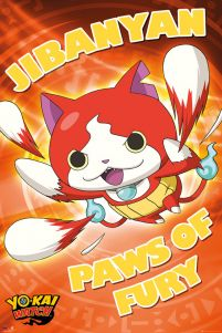 plakat anime z Jibanyan z filmu Yo-Kai Watch z podpisem Paws of Fury