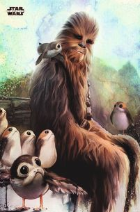 Star Wars The Last Jedi Chewbacca & Porg - plakat