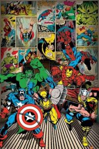 Komiksowy plakat Marvel Comics - Here Come The Heroes