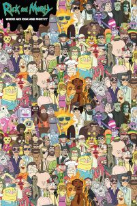 Plakat Where's Rick z bohaterami serialu Rick and Morty