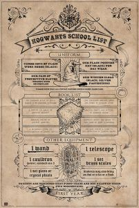 Harry Potter Hogwarts School List - plakat