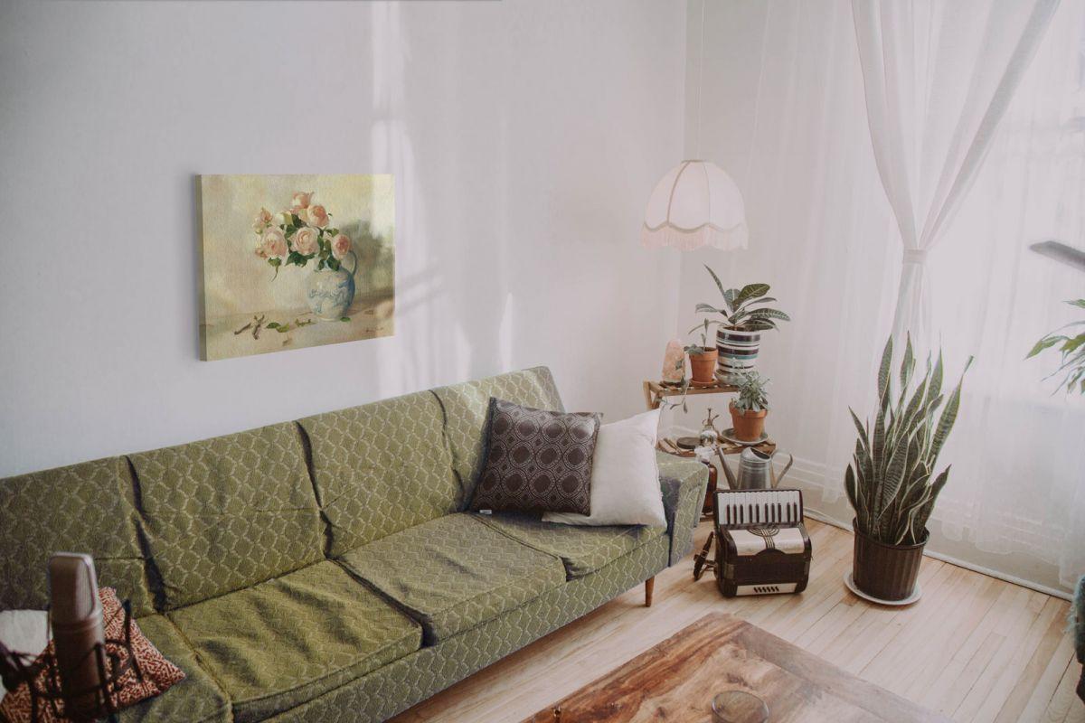 Obraz z kwiatami w wazonie The Afternoon Arrangement w salonie