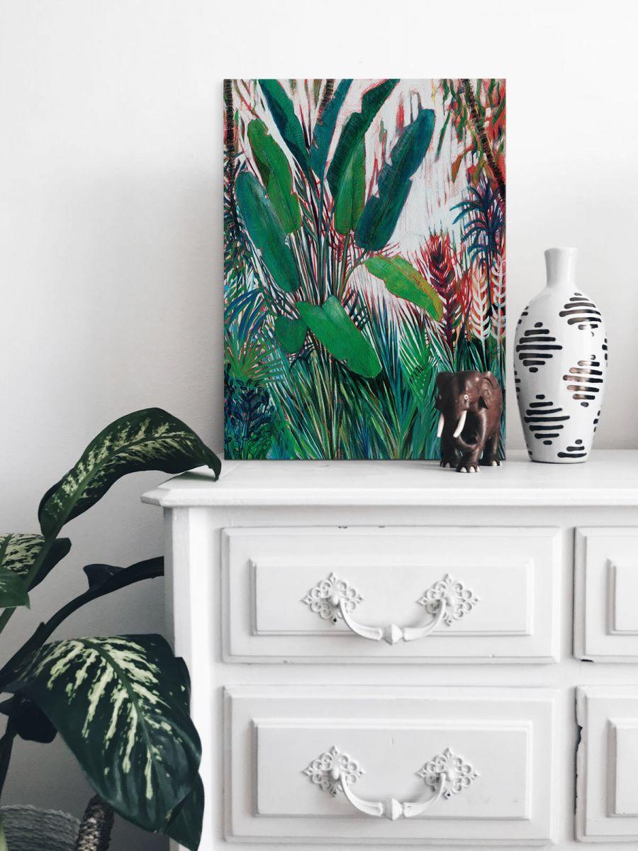 Canvas z egzotycznymi liśćmi